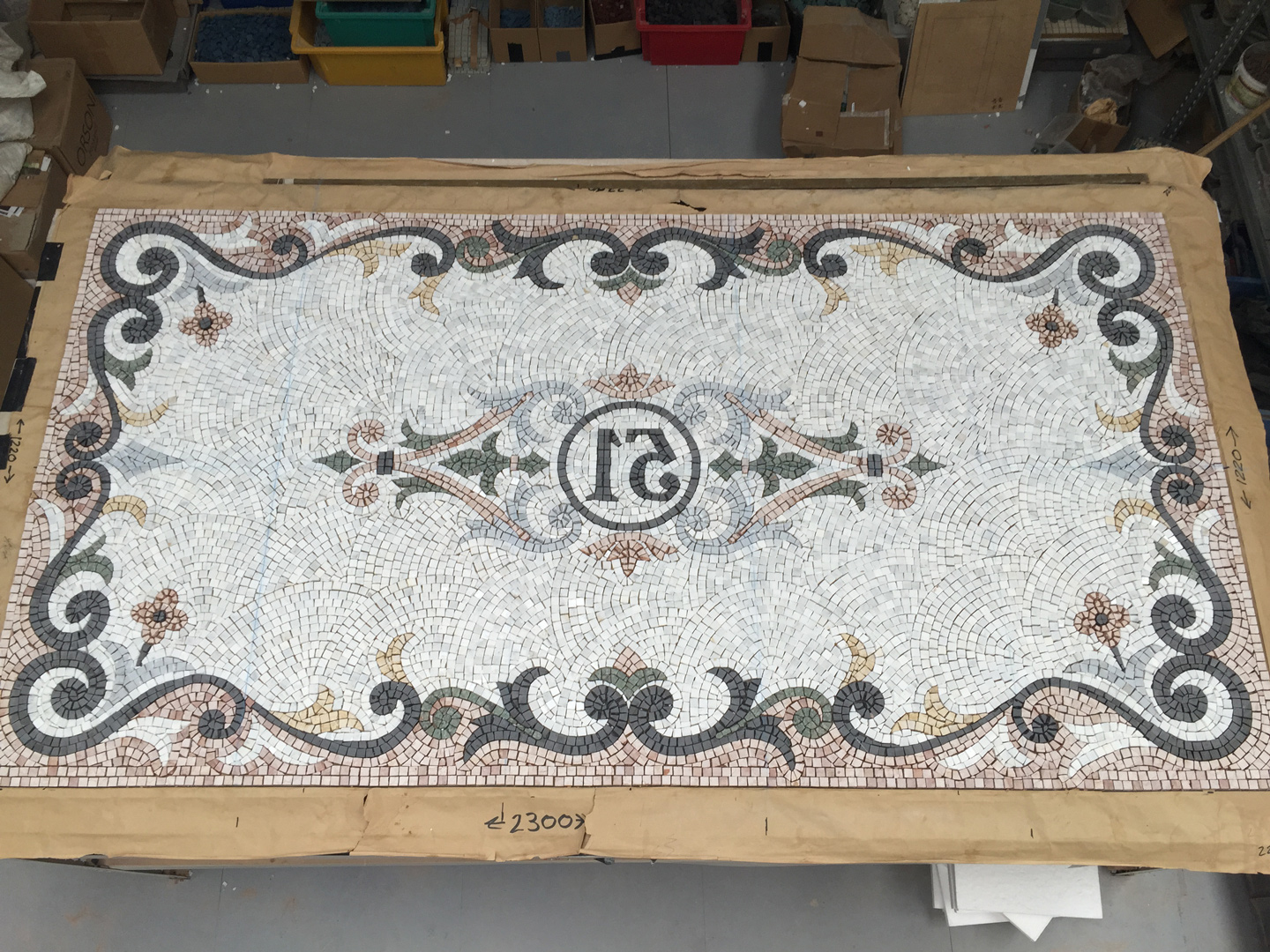 Queen Anne Street, London – three bespoke marble mosaic steps…