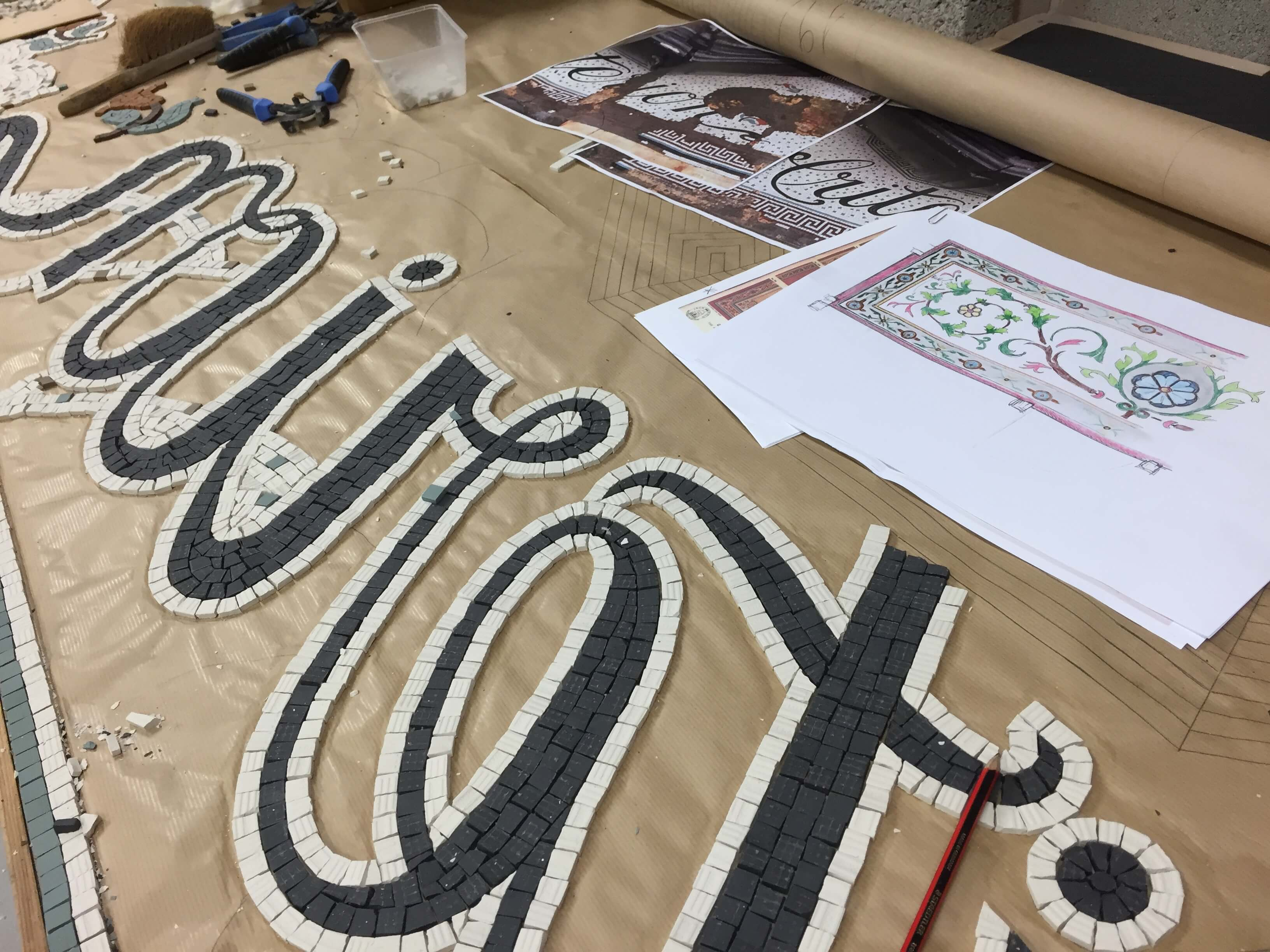Criterion being constructed in the workshop - Mosaic Restoration