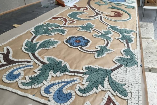 Fitzroy Tavern, being constructed in the workshop - Mosaic Restoration UK