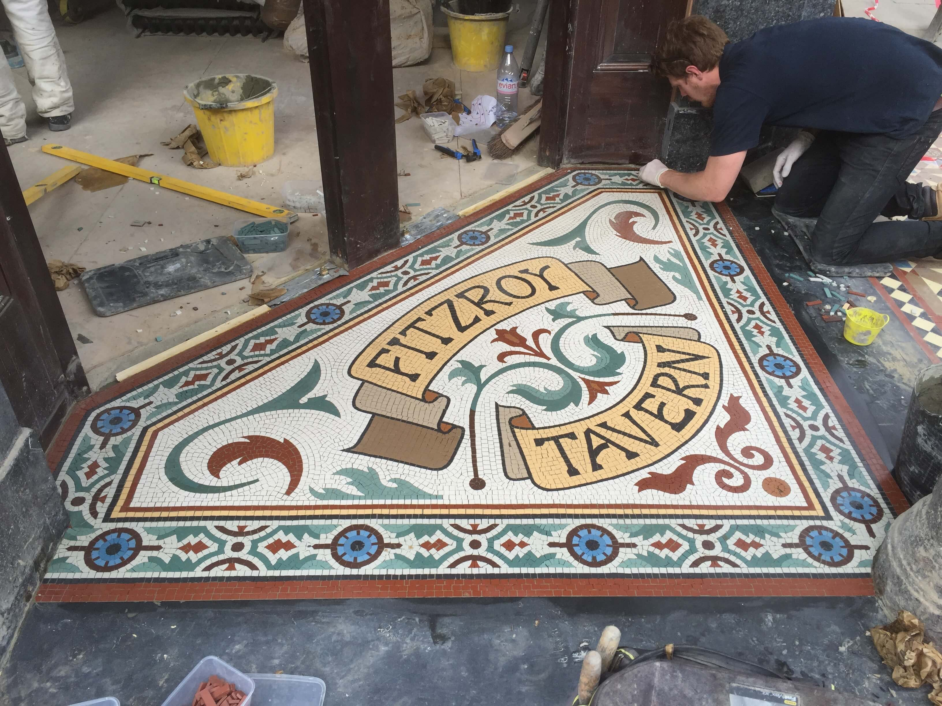Fitzroy Tavern, installation on site - Mosaic London
