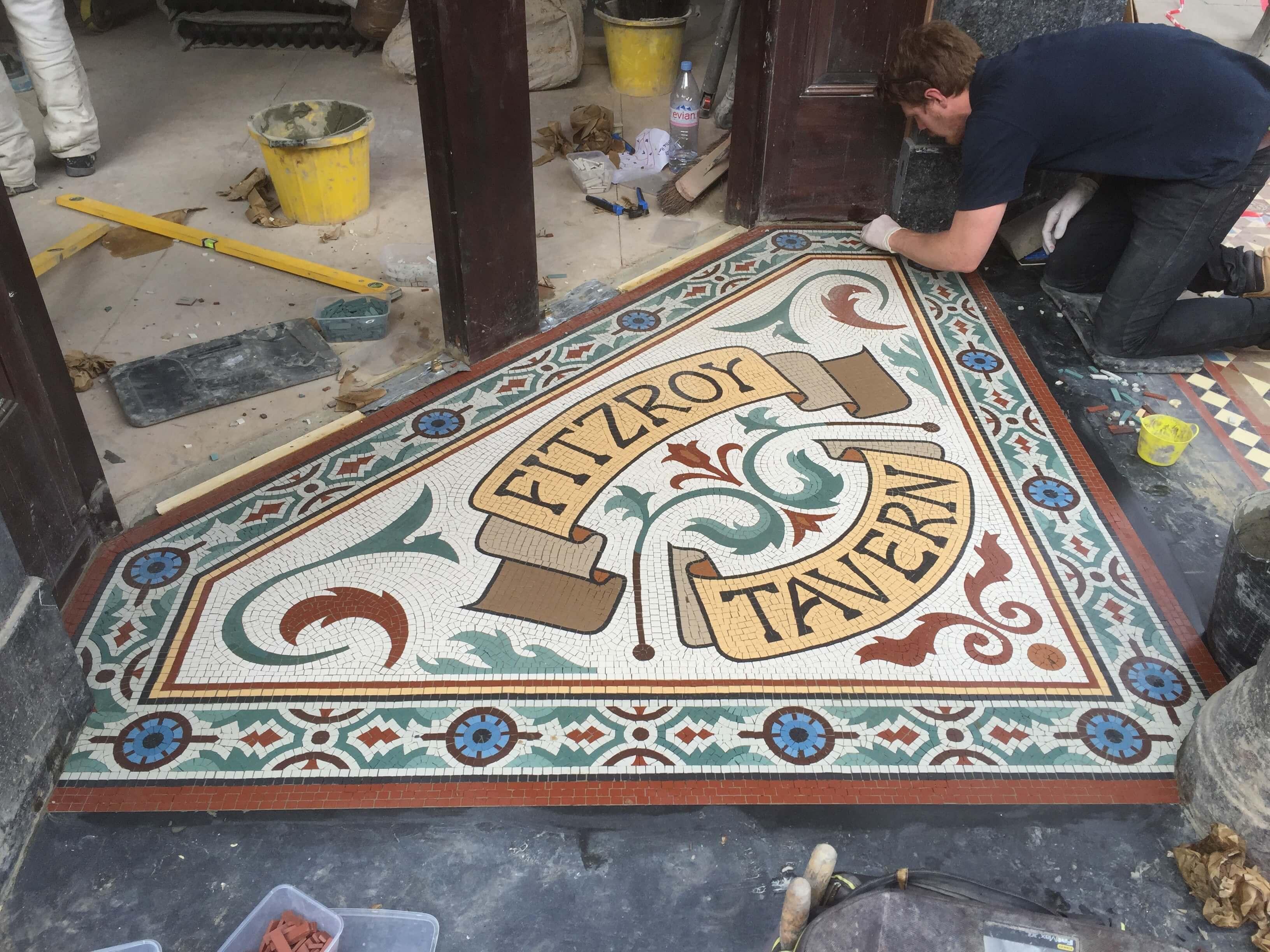 Fitzroy Tavern, installation on site - Mosaic London