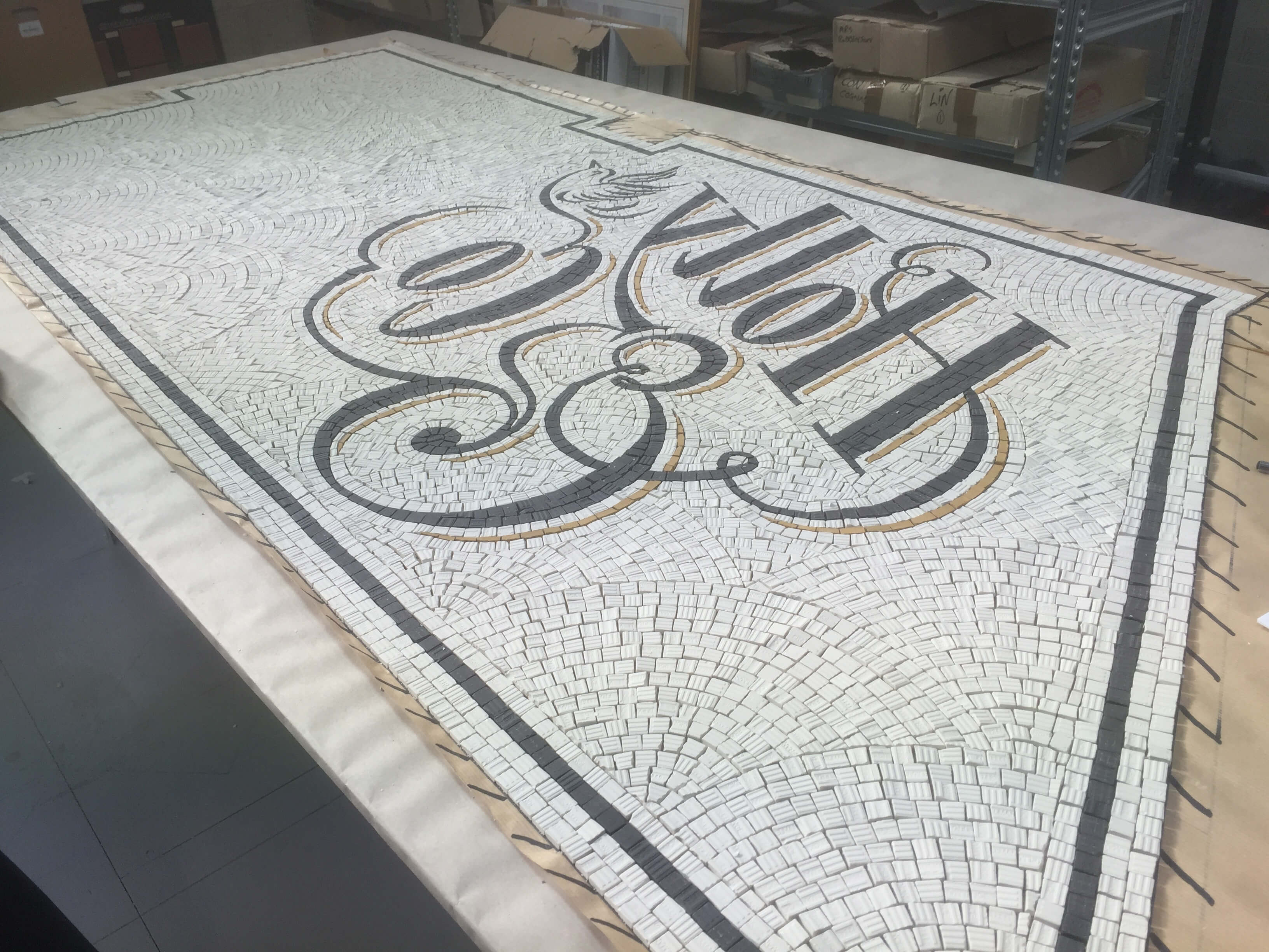 Holly & Co. Twickenham, construction in the workshop - Mosaic Restoration UK