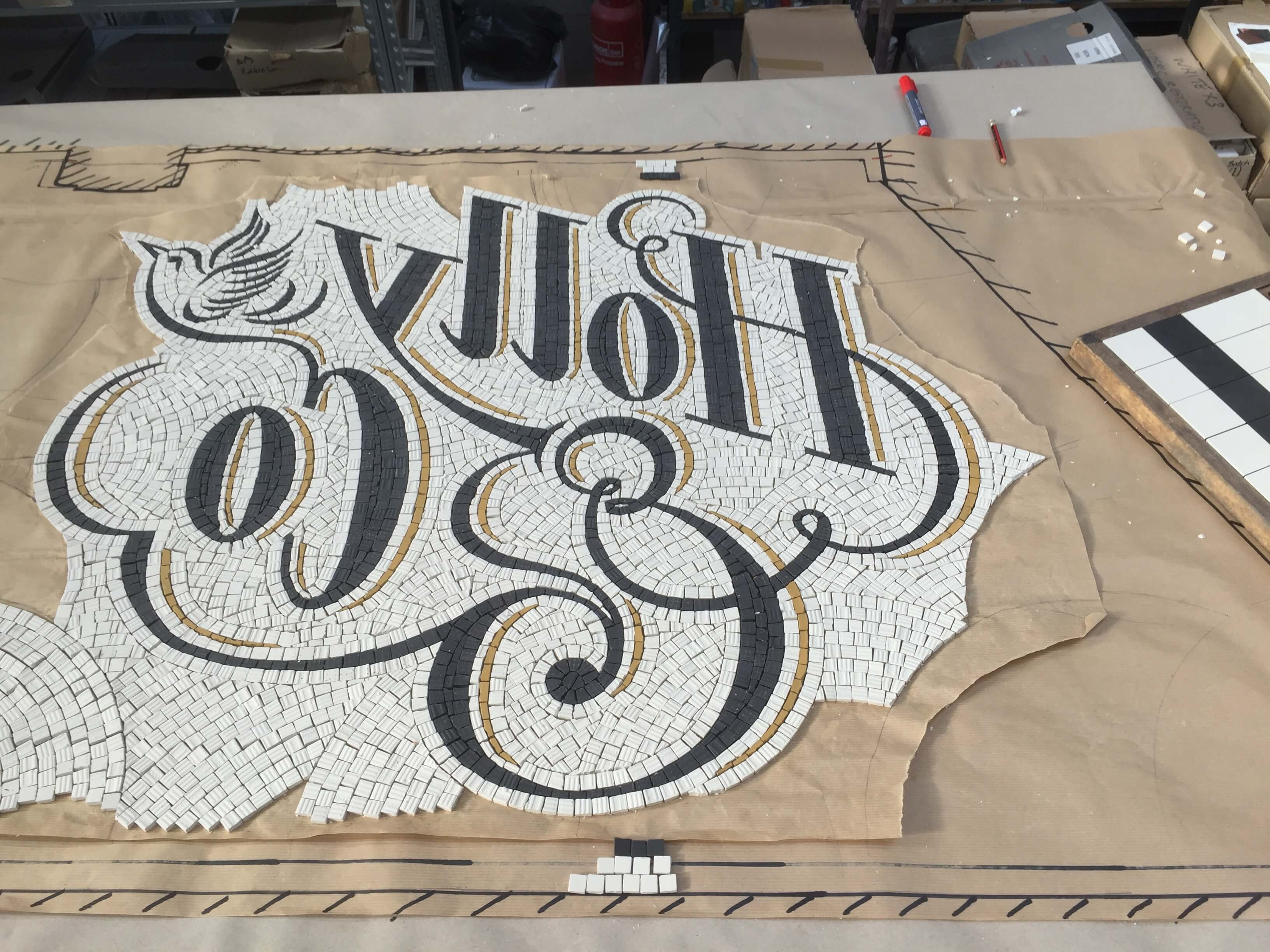 Holly & Co. Twickenham, construction in the workshop - Mosaic Restoration