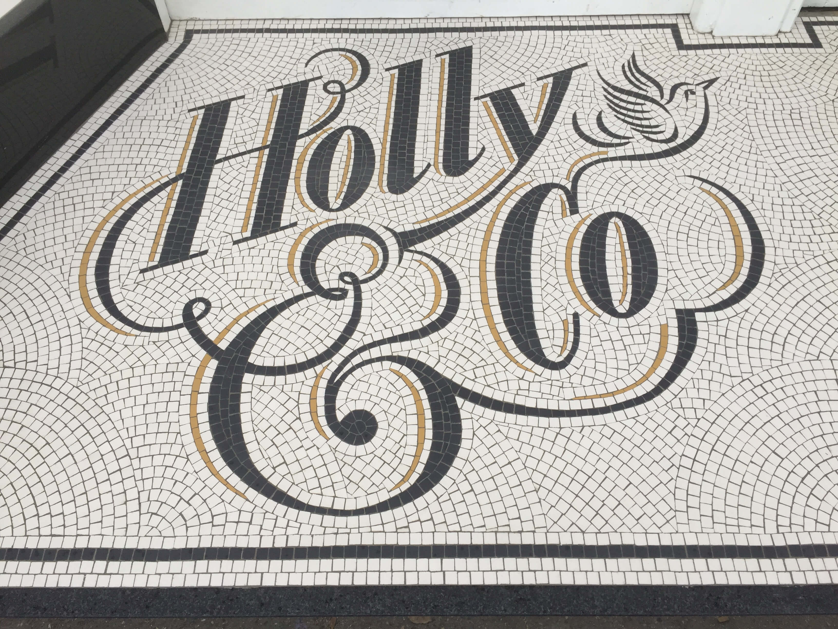 Holly & Co. Twickenham, installation on site - Mosaic Restoration UK