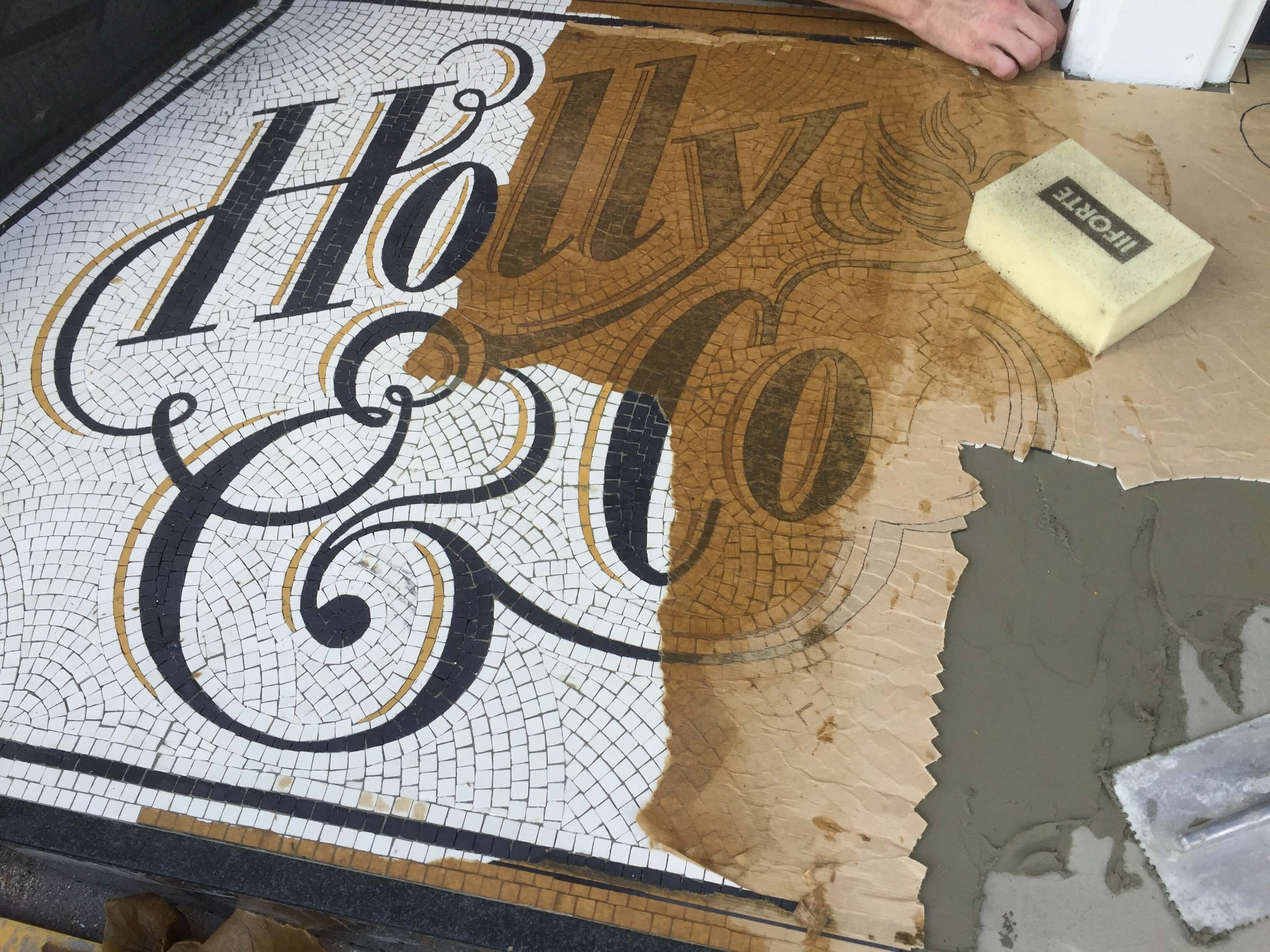 Holly & Co. Twickenham, installation on site - Mosaic Restoration
