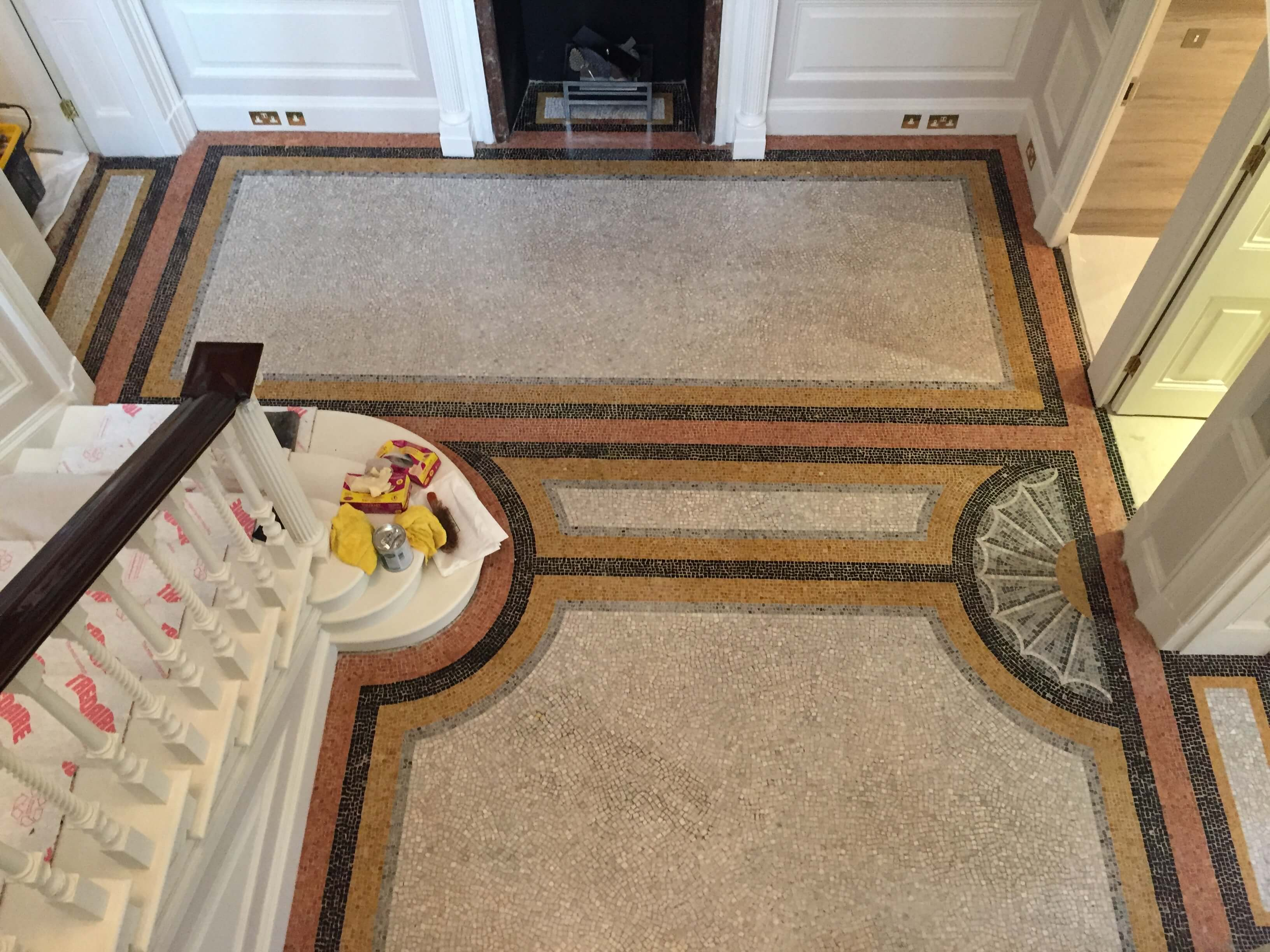 Large private residence, a presumed written off original marble mosaic floor - Mosaic Restoration