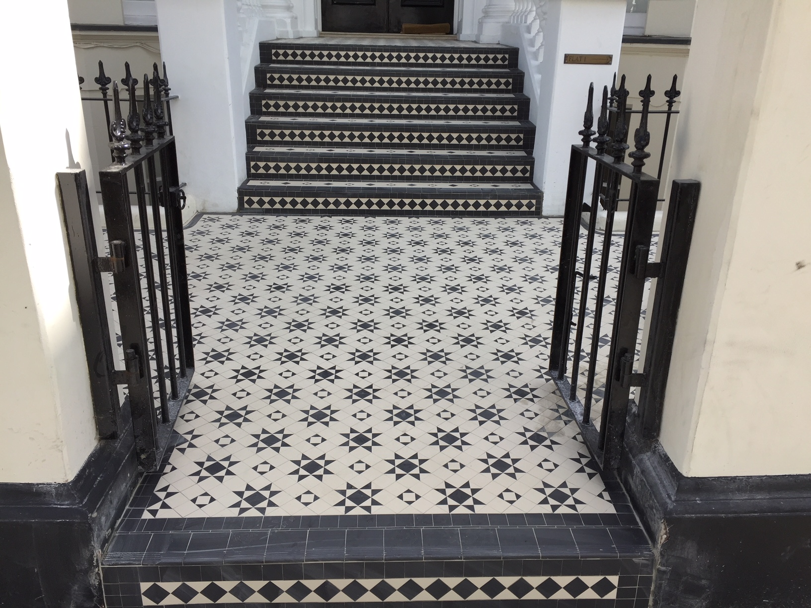 Examples of new bespoke geometric tile installations in Central London-2