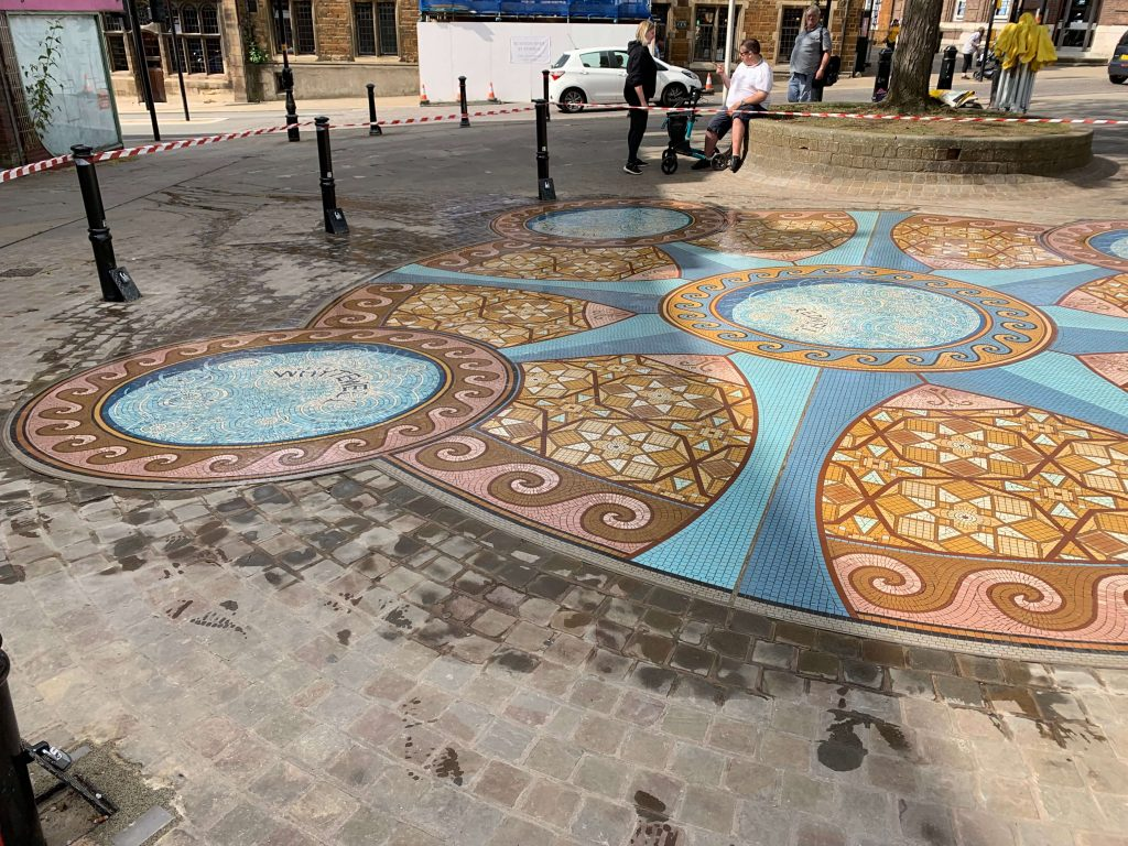 external mosaic in Wellingborough High Street 2019