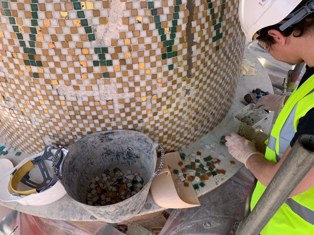 Mayflower Memorial Mosaic Southampton in-situ repair
