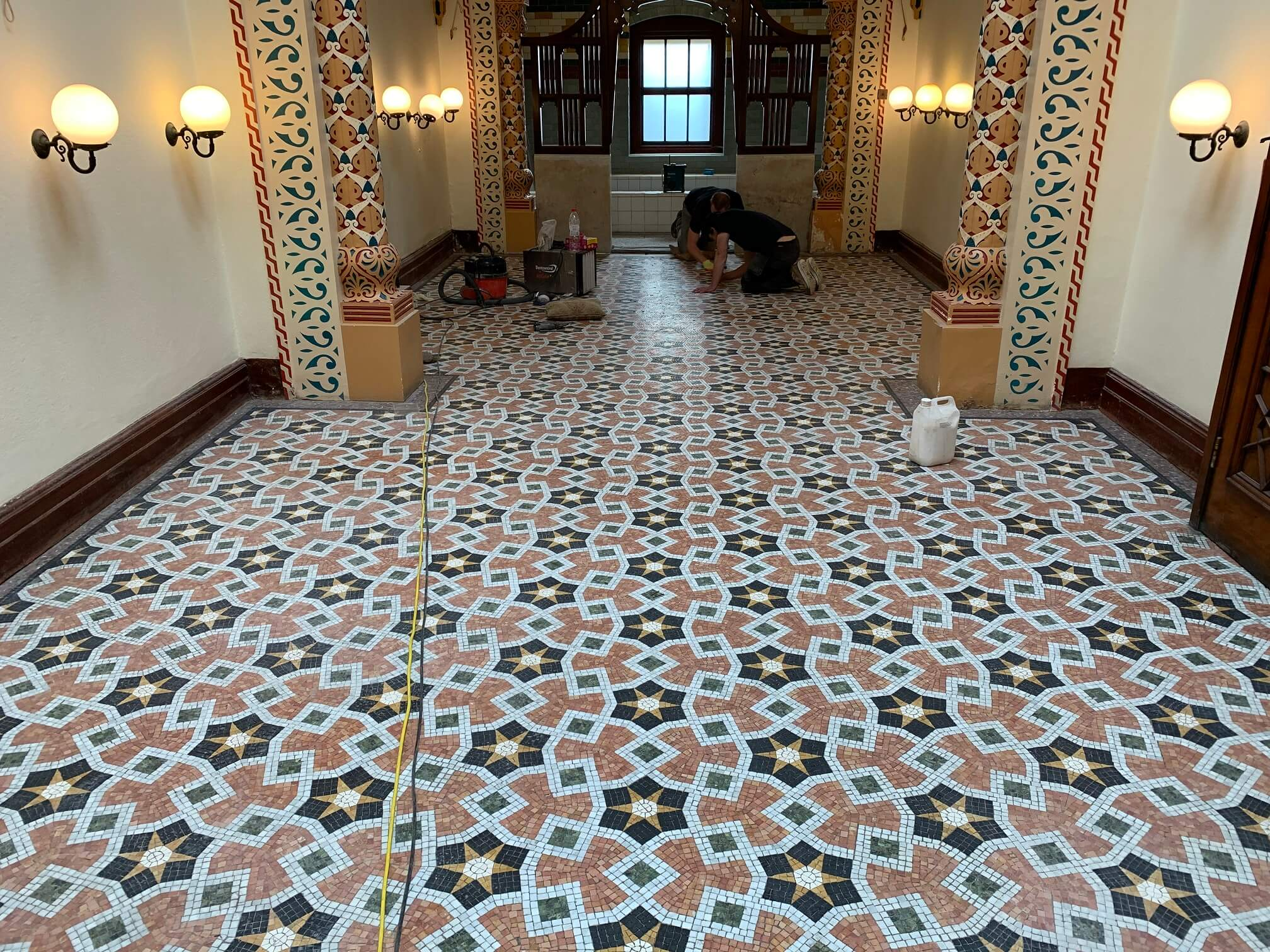 Turkish Baths, Harrogate. Large in-situ marble mosaic project